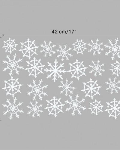 Наклейки на стекло «СНЕЖИНКИ БЕЛЫЕ» 24 элемента