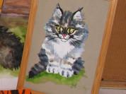 Авторская картина с кошкой, котом, котенком
