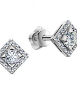0254 Пусеты с фианитом родированные серебро 925*
