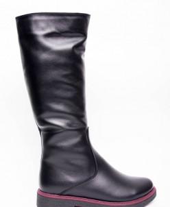 Сапоги из натуральной черной кожи №80-3 (сандра бордо-4)