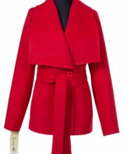 Пальто женское демисезонное (пояс) Кашемир Алый