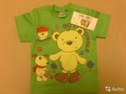 Новая футболка зеленая с медведем р 1 год