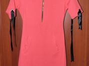 Платье на молнии сзади,с коротким рукавом молния