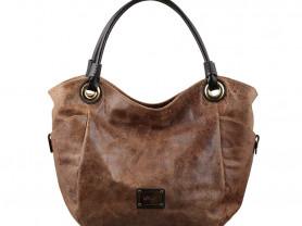 Новая большая кожаная сумка коричневая Италия