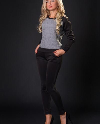 Спортивный костюм № 633-серый-с черным