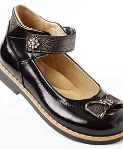 Ортопедические туфли черного цвета из натуральной лак. кожи