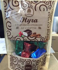 """Нуга """"Ассорти"""" в шоколадной глазури 200гр (крафт-пакет)"""