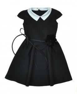 Платье Роза короткий рукав манишка белая P010341