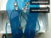 Сланцы новые Casadei Италия размер 39 голубые прозрачные силикон стразы сваровски камни Swarovski мягкие босоножки пляжная женская обувь бренд