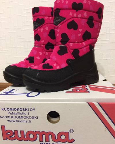 НОВИНКА! Kuoma (Куома) Putkivarsi сапоги розовые с сердцем