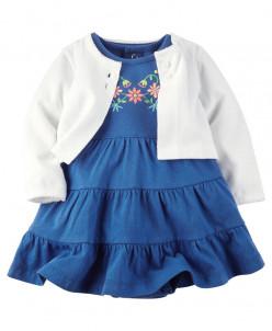 2-Piece Bodysuit Dress & Cardigan Set.