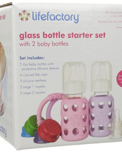 Lifefactory Two-Bottle Starter Set, Spring/Sky, 4 Ounce