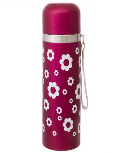 """Термос 400 мл 6,5*6,5*23,2 см """"Цветок"""" розовый"""