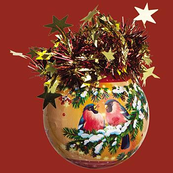 "Шар ""Рождественский"" (Снегири), диаметр 85 мм, арт. Ш85046"