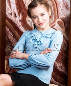 Трикотажная блузка А*нфиса голубая 2017