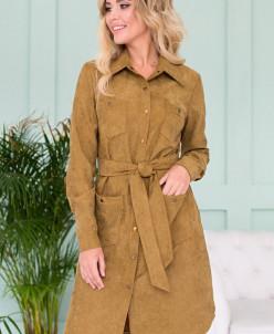 Платье-рубашка из вельвета цвет охра П-60-10