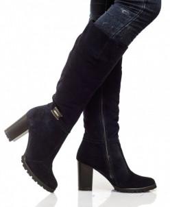 Женские замшевые сапоги на каблуке (байка/экомех - на выбор)