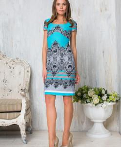 Платье голубой принт