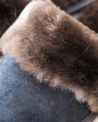 Тапочки мужские из дублены Серые. 100% овчина