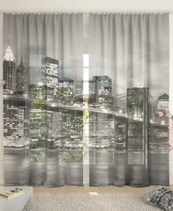 Фототюль Бруклинский мост черно-белый