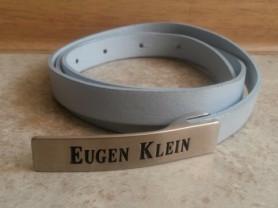 Узкий голубой кожаный женский ремень Eugen Klein
