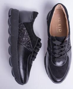 Кроссовки №374-14 черная кожа, черный замш + камни 19