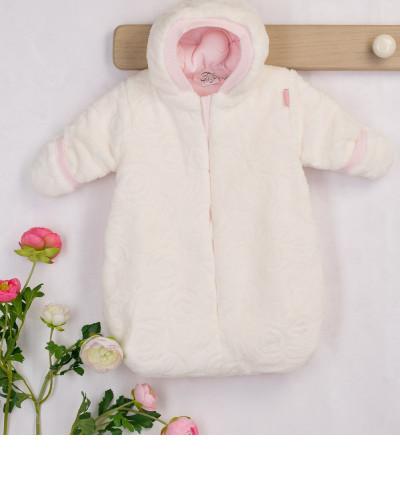 #32099 Конверт детский Экрю, отделка: розовая