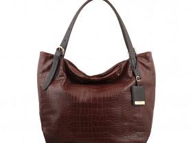 Новая большая кожаная сумка Италия коричневая
