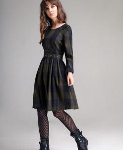Р1160 платье  Цвет:оливковая и темно-синяя клетка