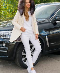 Женская зимняя куртка из эко-кожи 8779 молочная