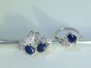 серьги+кольцо серебро с сапфирами и цирконами