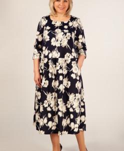 Платье Марта цветы молочные