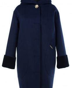 02-1946 Пальто женское утепленное Кашемир Темно-синий