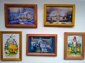 Картина Кошка котенок, пейзаж с домом. Пасха, зая