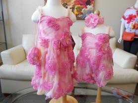 Платье / сарафан (США) розовое с цветами 3D