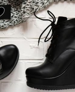 Кожаные ботиночки на платформе.