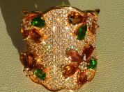 кольцо перстень серебро 925* + турмалины + цирконы