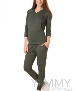 Универсальные брюки со складками, с карманами из вяз трикот
