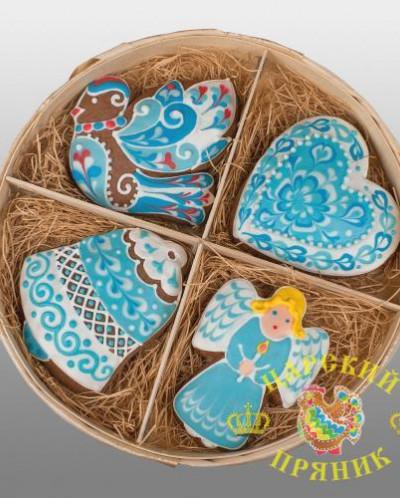 1002 Набор пряников «Рождественский» в бело-голубом дизайне