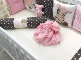 Бортики в кроватку для девочки, Зебра с валиками)