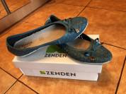Туфли балетки синие кожа
