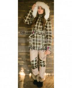 Женский термо костюм Airos, удлиненное пальто и узкие брюки