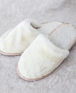 Тапочки женские без бубона Белые. 100% овчина
