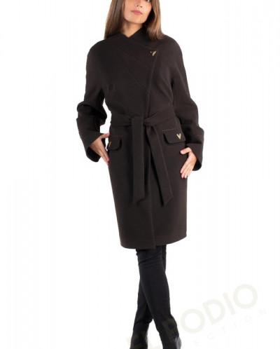 14-0019-60 Пальто женское демисезонное (пояс) Кашемир Шокола