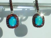 серьги серебро 925* + голубые опалы + гранаты