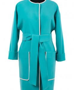09-2187 Пальто женское демисезонное (пояс) Кашемир Бирюза