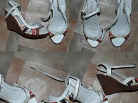 Отдам Туфли-босоножки на сплошном каблуке белые