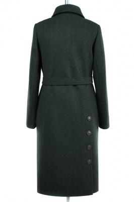 01-8140 Пальто женское демисезонное (пояс) Сукно Темно-зелен
