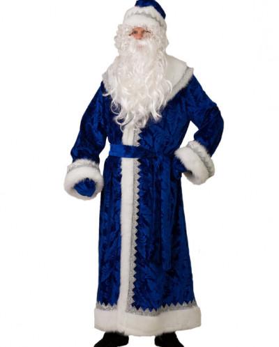 Дед Мороз велюр тиснение синий (д/взр) р.54-56 арт.199