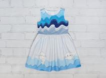 """Бязевое платье для девочки """"Волны"""""""